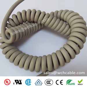 LSZH Halogen Free Custom Made Spring Spiral Cable Sheathed by PUR